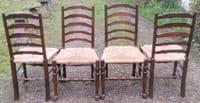 Set of Four Beech & Elm Ladderback Dining Chairs